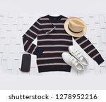 long striped l shirt with white ... | Shutterstock . vector #1278952216
