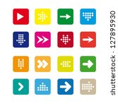set  4 of rounded square icons... | Shutterstock .eps vector #127895930