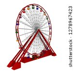 Ferris Wheel Isolated On White...