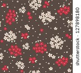 vector seamless cartoon floral... | Shutterstock .eps vector #127898180