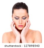 caucasian female eyes closed ... | Shutterstock . vector #127898540