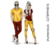 woman and man models dressed... | Shutterstock . vector #1278994876