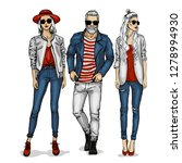 man and two woman models... | Shutterstock . vector #1278994930