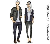 woman and man models dressed... | Shutterstock . vector #1279001500