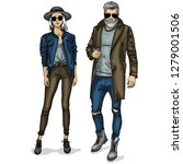 woman and man fashion models  ... | Shutterstock . vector #1279001506