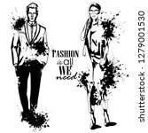 woman and man models dressed... | Shutterstock . vector #1279001530