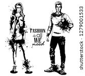 woman and man models dressed... | Shutterstock . vector #1279001533