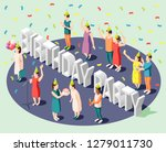 birthday party isometric design ... | Shutterstock .eps vector #1279011730