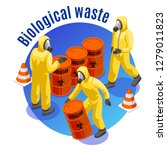 toxic waste isometric round... | Shutterstock .eps vector #1279011823