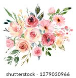 watercolor floral spring... | Shutterstock . vector #1279030966