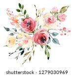 watercolor flowers peonies and... | Shutterstock . vector #1279030969