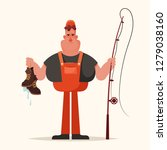 grumpy fisherman holding dirty... | Shutterstock .eps vector #1279038160
