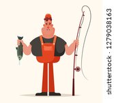 happy fisherman holding a fish. ... | Shutterstock .eps vector #1279038163