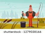 smiling fisherman. cartoon... | Shutterstock .eps vector #1279038166