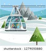 modern cable ski lift in ski... | Shutterstock .eps vector #1279050880