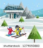 cartoon skiers on ski lift... | Shutterstock .eps vector #1279050883
