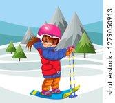 cartoon girl skiing on hill in... | Shutterstock .eps vector #1279050913