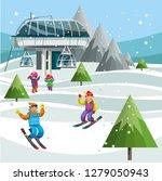 cartoon skiers on ski lift... | Shutterstock .eps vector #1279050943
