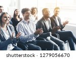 happy diverse audience... | Shutterstock . vector #1279056670