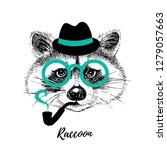 hand drawn sketch raccoon... | Shutterstock .eps vector #1279057663