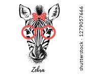 hand drawn sketch zebra hipster ... | Shutterstock .eps vector #1279057666