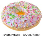strawberry donut covered with...   Shutterstock . vector #1279074880
