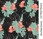 flower pattern with hand drawn... | Shutterstock .eps vector #1279075423