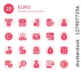euro icon set. collection of 20 ... | Shutterstock .eps vector #1279077256