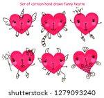 set of cartoon hand drawn funny ... | Shutterstock .eps vector #1279093240