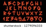 magical neon red alphabet. the... | Shutterstock .eps vector #1279096333