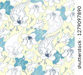 seamless pattern with flowers.... | Shutterstock .eps vector #1279097890