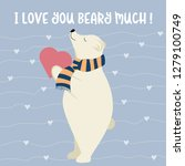funny valentine's day card with ... | Shutterstock .eps vector #1279100749
