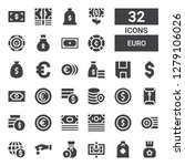 euro icon set. collection of 32 ... | Shutterstock .eps vector #1279106026