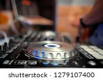dj mixes the track in the... | Shutterstock . vector #1279107400