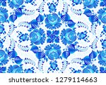 blue painted flowers on white... | Shutterstock .eps vector #1279114663