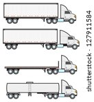 Four common types of American big rigs or eighteen wheeler tractor trailers. - stock vector