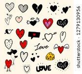 hand drawn hearts. vector... | Shutterstock .eps vector #1279130956