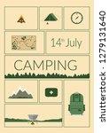 camping poster vector... | Shutterstock .eps vector #1279131640