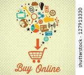 buy online retro colors icons.... | Shutterstock .eps vector #127913330