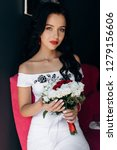 lovely bride with dark hair and ... | Shutterstock . vector #1279156606