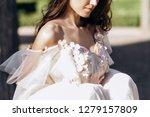 the charming bride walking... | Shutterstock . vector #1279157809