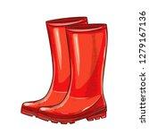 red rubber garden boots.... | Shutterstock .eps vector #1279167136