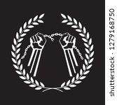 hands tearing a chain framed... | Shutterstock .eps vector #1279168750