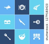 cooking icon set and food with...