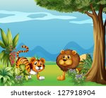 illustration of a lion and a... | Shutterstock .eps vector #127918904