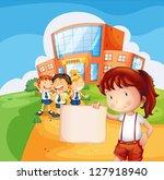 illustration of a girl holding...   Shutterstock .eps vector #127918940