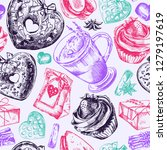 lavender latte illustration ... | Shutterstock .eps vector #1279197619