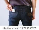 young man jeans back side... | Shutterstock . vector #1279199959