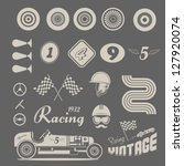 vector icon set of vintage car... | Shutterstock .eps vector #127920074