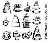 cake set. elements and icons... | Shutterstock .eps vector #1279202509
